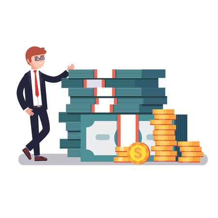 riches: Young business man in suit showing off his money, pile of huge stacked dollar banknotes and gold coins. Modern colorful flat style vector illustration isolated on white background.