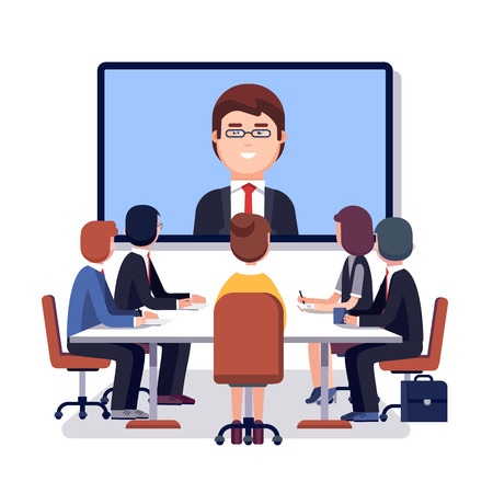 Corporations: Corporation directors board at the conference call meeting with CEO at the video call projection screen. Modern colorful flat style vector illustration isolated on white background.