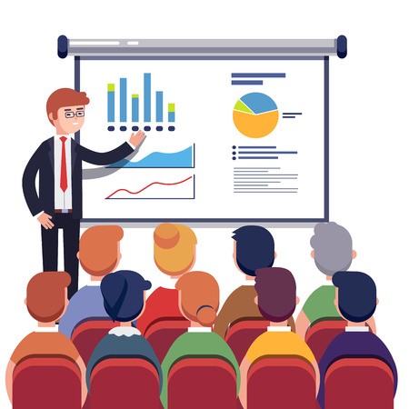 Zakenman presenteren marketing data op een presentatiescherm board grafieken uit te leggen aan sales training publiek. Business seminar. Vlakke stijl vector illustratie geïsoleerd op een witte achtergrond.