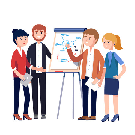 Business people team project strategy planning meeting. Businessman showing and explaining to his colleagues plan diagram sketch drawn by a marker on a white board. Flat style vector illustration. Vettoriali