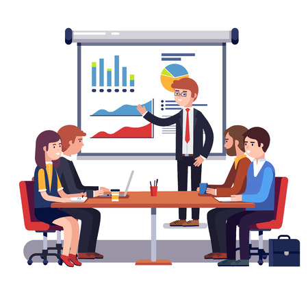 Corporate business manager explaining quarter report data to directors board. Financial results presentation standing in front of projecting screen. Flat style vector illustration isolated on white.