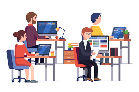 IT or game development company people at work. Group of software developers programming code together sitting in front of their office PC screens at their workplaces. Flat style vector illustration.