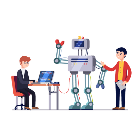 Software en hardware engineers maken en programmeren van grote robot. Robotics hardware en software engineering. Development bedrijf. Vlakke stijl vector illustratie geïsoleerd op een witte achtergrond. Stock Illustratie