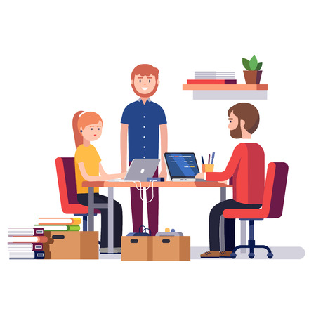 Small start up company. Game or app development. Group of young students software developers programming code together at home garage. Flat style vector illustration.