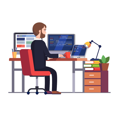 Professional programmer engineer working writing code at his big desk with multiple displays and laptop computer. Modern colorful flat style vector illustration isolated on white background.  イラスト・ベクター素材