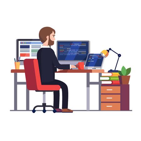 Ingénieur programmeur professionnel travaillant le code de l'écriture à son grand bureau avec plusieurs affichages et ordinateur portable. Illustration de vecteur moderne plat style coloré isolé sur fond blanc. Vecteurs