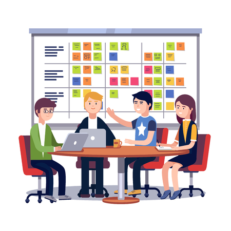 Team working together on a big IT startup business. Scrum task board hanging in a team room full of tasks on sticky note cards. Flat style vector illustration isolated on white background.