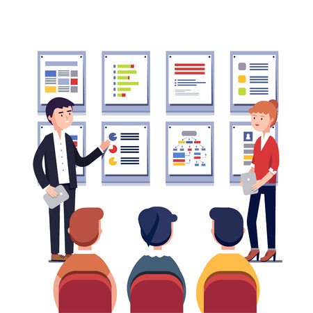 project plan: Man and woman presenting their project business plan. Showing data, explaining charts on cards. Business presentation, training or seminar. Flat style vector illustration isolated on white background.