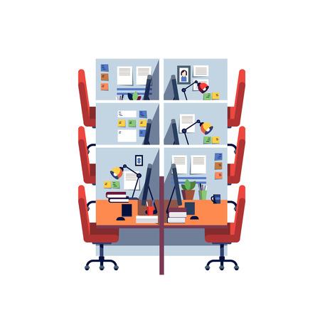 trabajo oficina: interior del espacio de trabajo vacío corporativa oficina cubículo con las computadoras. ilustración vectorial de estilo plano colorido moderno aislado en el fondo blanco.
