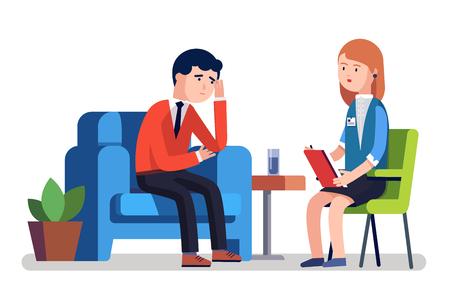 Broken zakenman praten met psycholoog. Psychotherapie counseling. Zakenman die zich bezighoudt met stress. Moderne kleurrijke platte stijl vectorillustratie geïsoleerd op een witte achtergrond