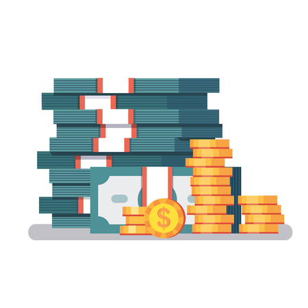 pile of cash: Big stacked pile of cash and some gold coins. Currency straps holding dollar bills money. Modern colorful flat style vector illustration isolated on white background.