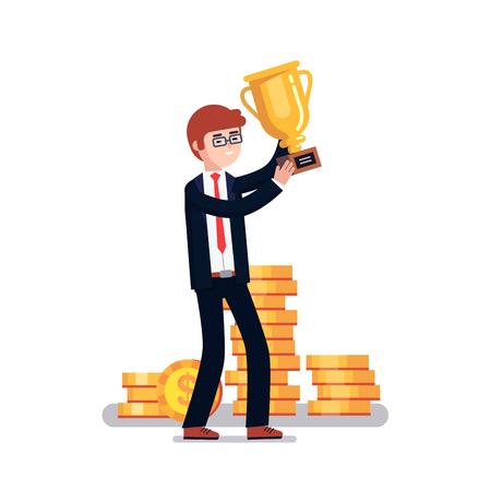 white achievement: Celebrating businessman holding winner gold cup trophy. Business achievement concept. Modern colorful flat style vector illustration isolated on white background.