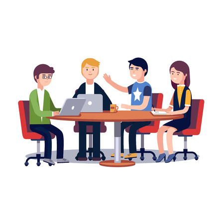 talking: Team working and talking together on a IT startup business. Strategy planning meeting. Flat style vector illustration isolated on white background.