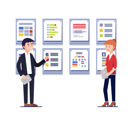 project plan: Young entrepreneurs man and woman showing startup business project plan presentation on framed cards. Modern colorful flat style vector illustration isolated on white background.