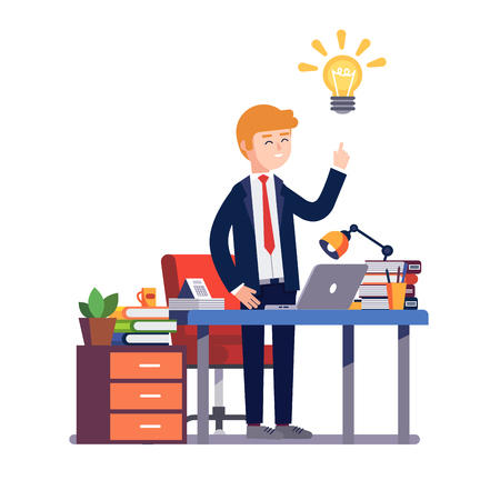 Business man entrepreneur in a suit stands happily having a new bright solution idea at his office desk. Modern colorful flat style vector illustration isolated on white background.