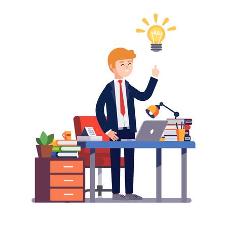 hombre de negocios empresario en un traje está felizmente tener una idea nueva solución brillante en su escritorio de oficina. ilustración vectorial de estilo plano colorido moderno aislado en el fondo blanco. Ilustración de vector