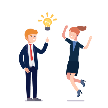 business metaphor: Business man having new creative problem solution idea showed as bright light bulb metaphor. Woman colleague jumping excited praising solution. Flat vector illustration isolated on white background. Illustration