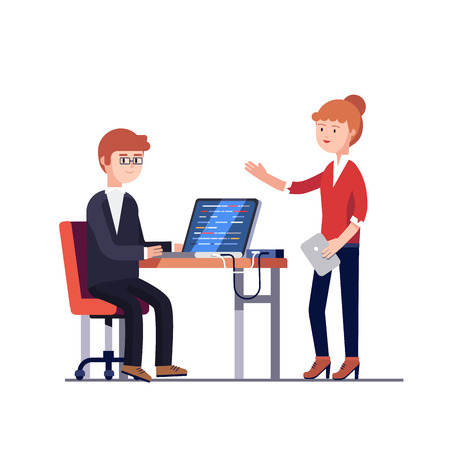 Project manager woman with tablet computer talking to a programmer man writing code on laptop at the desk. Modern colorful flat style vector illustration isolated on white background. Vectores