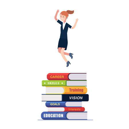knowledge business: Business woman jumping on top of big heap of books and knowledge. Celebrating her successful education and career choice. Modern colorful flat style vector illustration isolated on white background.
