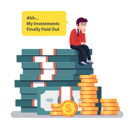 turn about: Business man sitting on a big pile of stacked money and coins thinking about how good his investments turn out. Modern colorful flat style vector illustration isolated on white background.