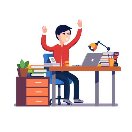 Business man sitting at the office desk with a laptop raises up hands in winner gesture celebrating working achievement or breakthrough. Flat style vector illustration isolated on white background.