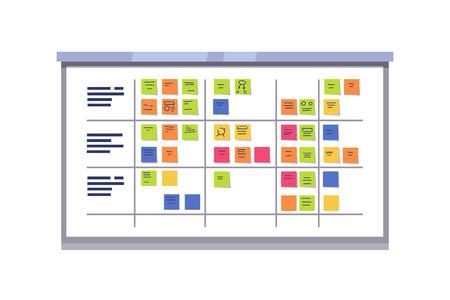 화이트 스크럼 보드 스티커 메모 카드에 작업의 전체. 제품 개발을 관리하기위한 반복적 인 민첩한 소프트웨어 개발 프레임 워크. 플랫 스타일 벡터 일러스트 레이 션 흰색 배경에 고립.