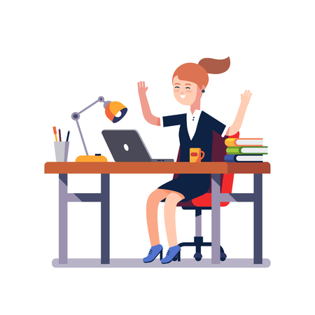 white achievement: Business woman sitting at the office desk with a laptop raises up hands in winner gesture celebrating working achievement or breakthrough. Flat style vector illustration isolated on white background.