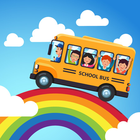 trip over: Yellow school bus. Driver with kids riding over the rainbow. Trip in the blue sky. Flat style cartoon vector illustration. Illustration