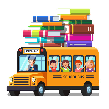 schoolbus: School bus riding with kids and lots of books luggage on the roof. Education trip concept. Colorful flat style cartoon vector illustration.