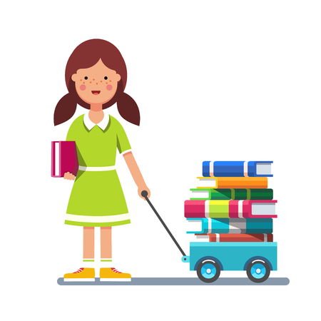 scholarship: School girl kid pulling wagon cart with pile of books. Little pupil hungry for knowledge. Colorful flat style cartoon vector illustration isolated on white background.