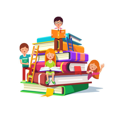 Kids sitting and reading on a huge pile of books with ladders. School education and knowledge concept. Colorful flat style cartoon vector illustration isolated on white background.