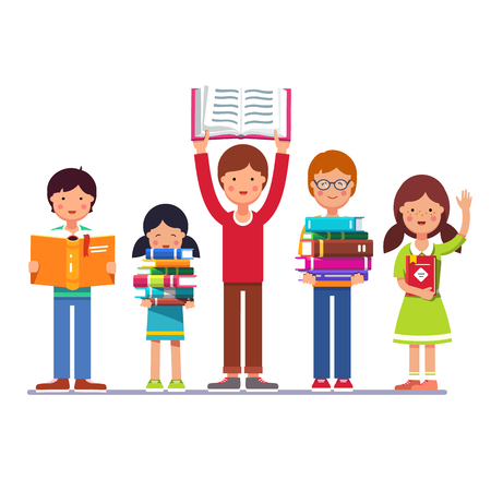 school boys: Five school and preschool kids boys and girls holding books in hands. Colorful flat style cartoon vector illustration isolated on white background.