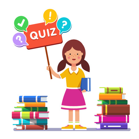 educated: Smart school girl standing near piles of books and holding quiz placard with question mark. Young book reader and erudite ready to play answer game. Flat style vector illustration. Illustration
