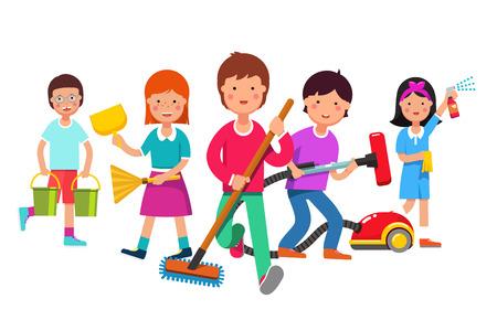 子供が家事を行っているチームをクリーニングします。男の子と女の子の掃除機、モップ、ほうき、真空、水バケツします。視聴者に向かって歩き  イラスト・ベクター素材