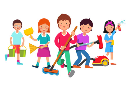 Kids cleaning team doing household chores. Boys and girls cleaners working with mop, broom, vacuum, water buckets. Walking towards viewer. Colorful flat style cartoon vector illustration.