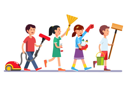 Kids cleaning team doing household chores. Inspired boys and girls cleaners walking in row line with vacuum, brooms and water bucket. Colorful flat style cartoon vector illustration.