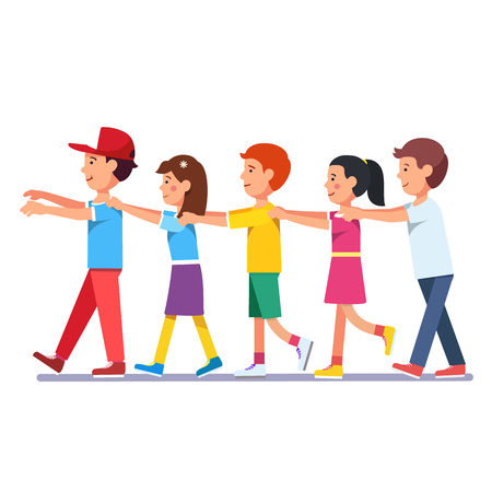woman behind: Kids walking in a row line holding forward guy by shoulders with hands and facing his back. Playing millipede game. Colorful flat style cartoon vector illustration.