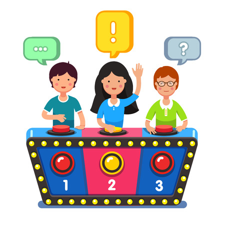 answering: Kids playing quiz game answering questions standing at the stand with buttons. Girl pressed the buzzer first and raised hand up. Colorful flat style cartoon vector illustration.