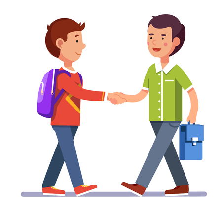 Two boys standing and shaking hands making peace or new acquaintance. School friendship. Colorful flat style cartoon vector illustration. Stock Illustratie