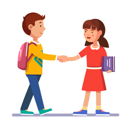 School students boy and girl standing and shaking hands making peace. Future friendship acquaintance. Colorful flat style cartoon vector illustration.