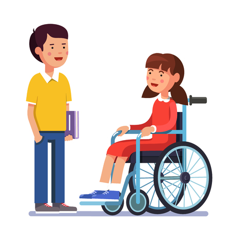 School boy talking to his friend girl who is temporarily disabled and recovering using wheelchair. Handicapped person socialization. Colorful flat style cartoon vector illustration. Vettoriali
