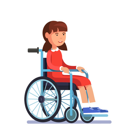 crippled: Cute disabled girl kid sitting in a wheelchair. Handicapped person. Colorful flat style cartoon vector illustration. Illustration