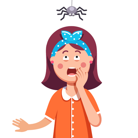 Madly frightened woman. Girl afraid of a spider hanging from the top. Arachnophobia panic attack. Colorful flat style cartoon vector illustration. Stock Illustratie