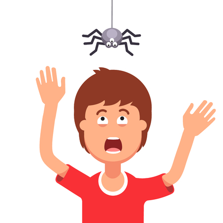 prank: Madly frightened man. Boy afraid of a spider hanging from the top. Arachnophobia panic attack. Halloween prank concept. Colorful flat style cartoon vector illustration.