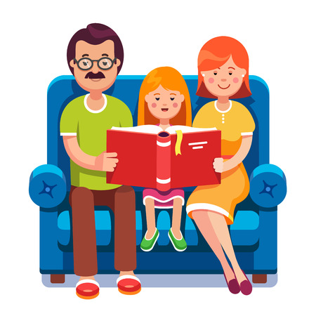 family together: Family. Mom, dad and daughter reading story book together sitting on the couch. Happy parents with their kid. Colorful flat style cartoon vector illustration. Illustration
