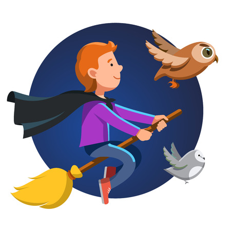 companions: Little nice magician boy flying fast at night on his broom stick with black waving cape and his owl companions. Halloween holiday poster concept. Colorful flat style cartoon vector illustration.