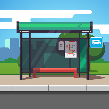 stop: Empty suburban road bus stop with city transportation scheme placard inside and sign. Colorful flat style cartoon vector illustration.
