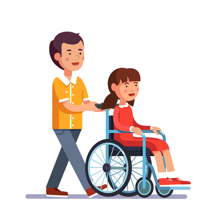 socialization: School boy caring about his friend girl who is temporarily disabled and recovering. Kid pushes wheelchair with person. Handicapped person socialization and help. Flat cartoon vector illustration.