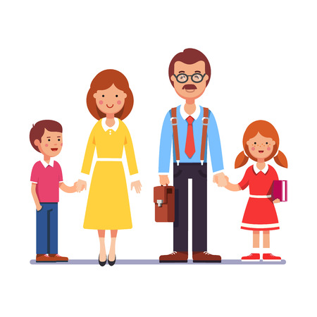 father and child: Family husband and wife standing with kids holding hands boy and girl. Mother and father with their children. Colorful flat style cartoon vector illustration.