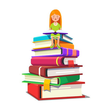 Little girl sitting on a pile of big books and reading opened tome. Smart kid learning knowledge concept. Colorful flat style cartoon vector illustration. Illustration